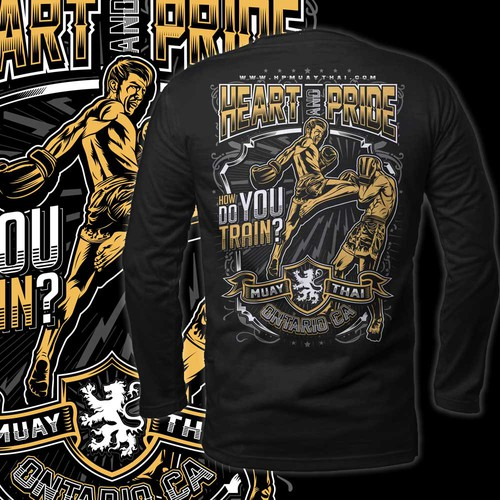 Mixed martial arts design with the title 'heart and pride muaythai'