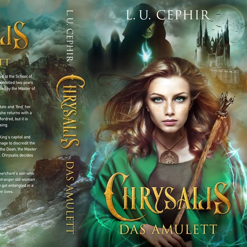 Magic book cover with the title 'Chrysalis - Fantasy novel'