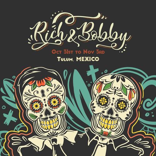 Dia de los Muertos design with the title 'Día de Muertos'