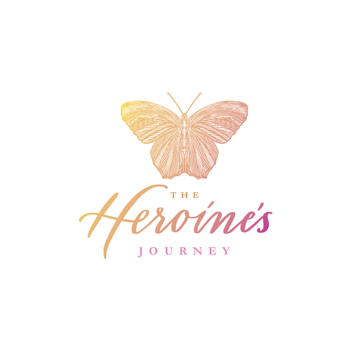 Hand-lettered logo with the title 'The Heroine's Journey'