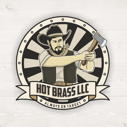 Axe design with the title 'Vintage logo for HOT BRASS LLC'