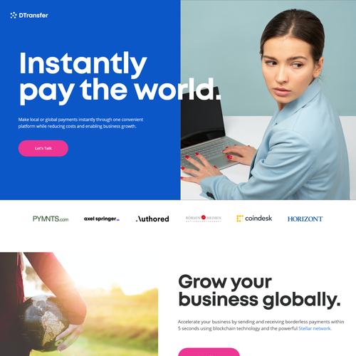 Crypto website with the title 'DTransfer website design'