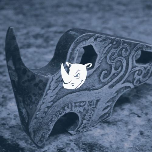 Rhino logo with the title 'Badass Redesign of Rhino Head Logo'