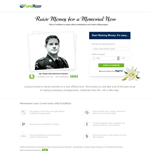 Memorial design with the title 'Web Design For Fund Razr'