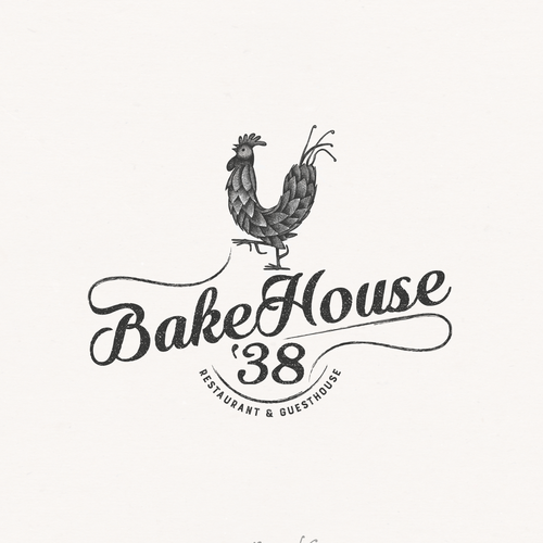Plantation logo with the title 'Rustic logo for wood-fired bakehouse, restaurant and guesthouse'