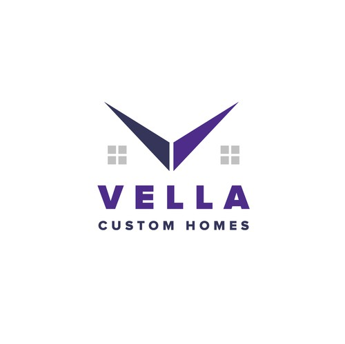 Home builder logo with the title 'Vella Custom Homes'