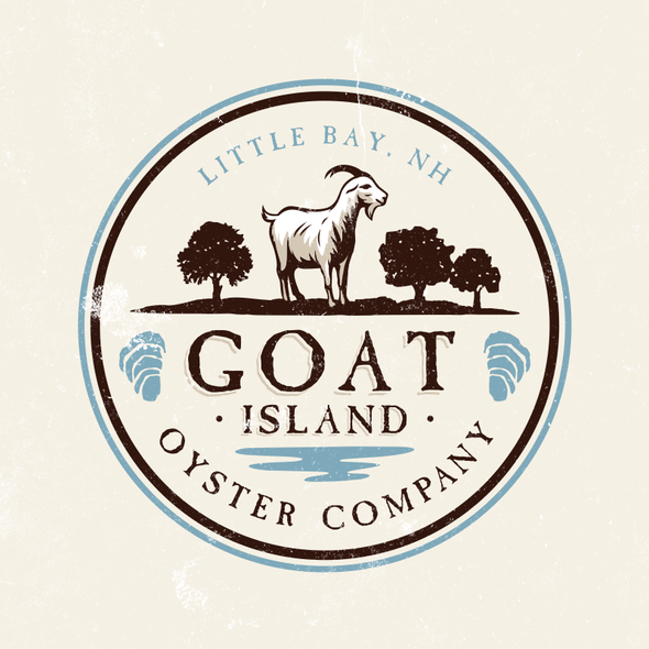 Goat logo with the title 'Logo Design for Small New Hampshire Oyster Farm'