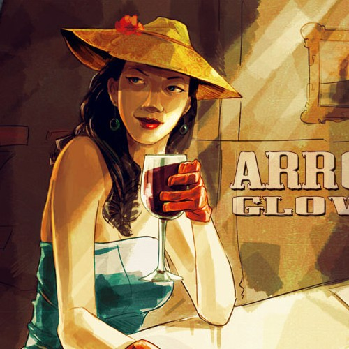 Digital artwork with the title 'A Girl In A Bar'