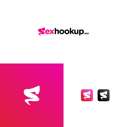 Romantic logo with the title 'New dating web app logo, sexhookup.app'