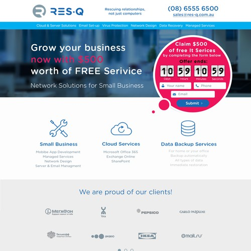 Page design with the title 'Landing Page'