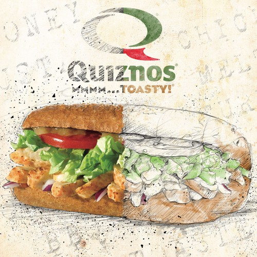 Sandwich artwork with the title 'Quiznos contest'