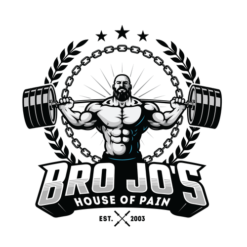 Weightlifting design with the title 'Old School Classic gym logo'