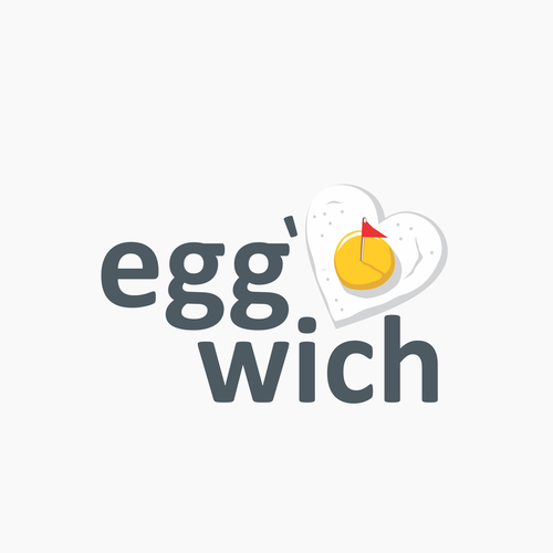 Flag logo with the title 'Logo concept for egg and sandwich'