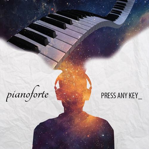 Band artwork with the title 'pianoforte debut album cover design'