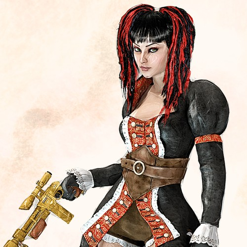 Steampunk artwork with the title 'Concept Art For A Character'