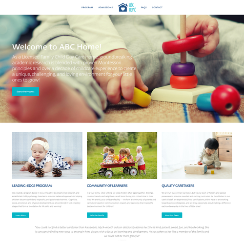 Children's website with the title 'ABC Home'