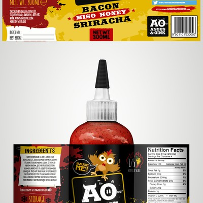 Angus and Oink label design.