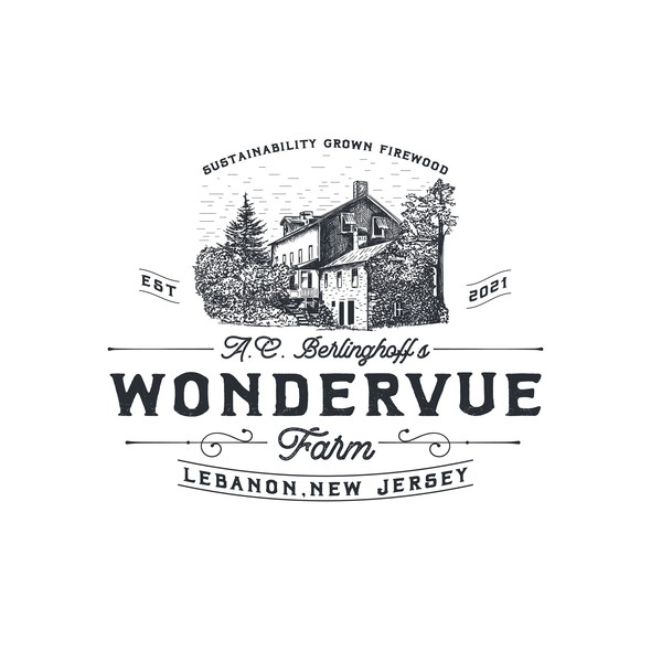 Farmhouse design with the title 'Hand drawn logo for sustainable wood farm '