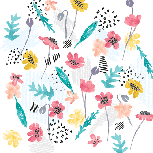 Flower artwork with the title 'Mixed media pattern for baby girls'