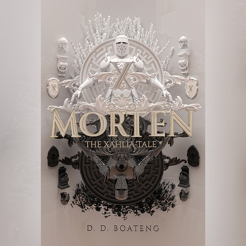 Knight design with the title 'MORTEN - The Xahlia Tale by D. D. Boateng'