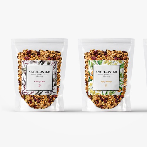 Nut packaging with the title 'Lush and Wild - Granola branding design'
