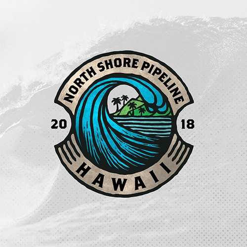 Palm tree logo with the title 'North Shore Pipeline'