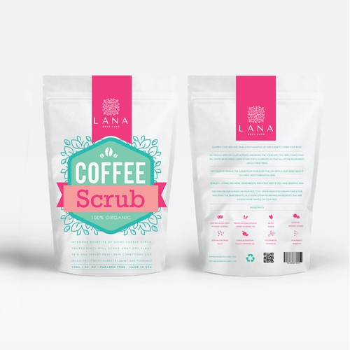 Feminine label with the title 'coffee scrub label'