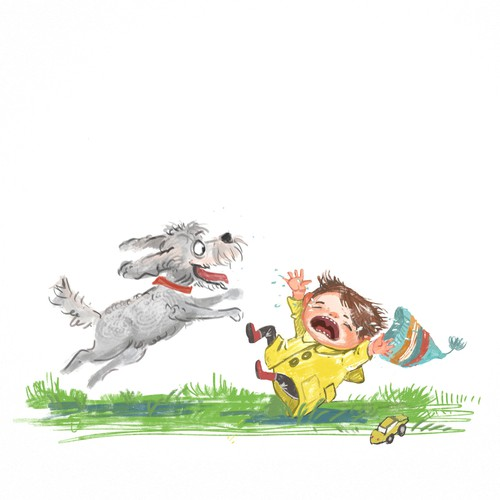 Whimsical illustration with the title 'Funny dog and toddler'