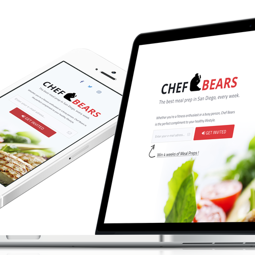 Red and black design with the title 'Chef Bears Landing Page'