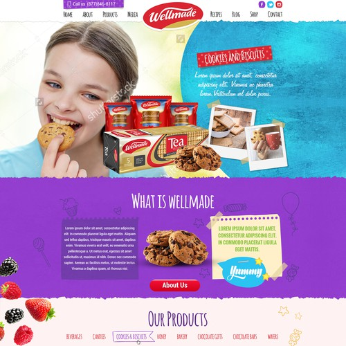 Candy design with the title 'Wellmade food and candies web site'