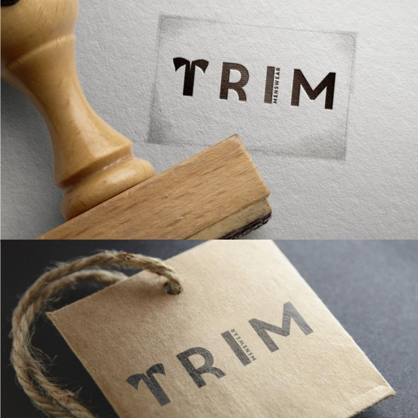 Menswear logo with the title 'TRIM'