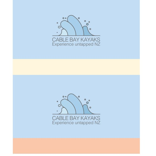 Ocean wave design with the title 'cablebaykayaks'