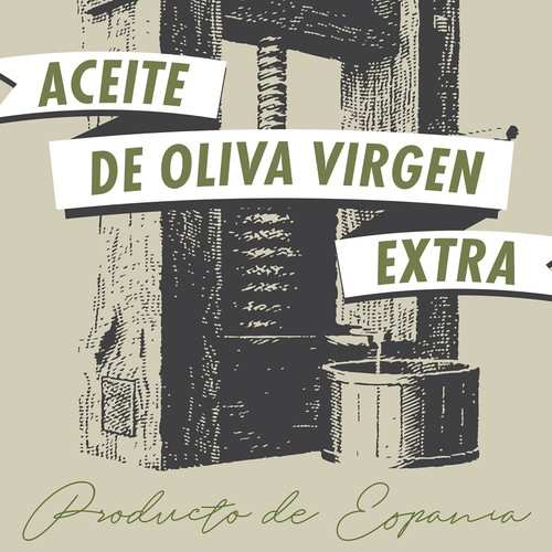 Etching design with the title 'Extra virgin olive oil label proposal'