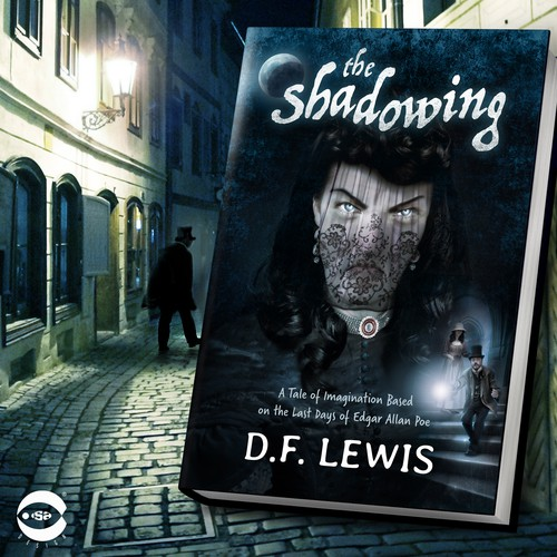 "Thriller book cover with the title 'Book cover for ""The Shadowing"" by D.F. Lewis'"