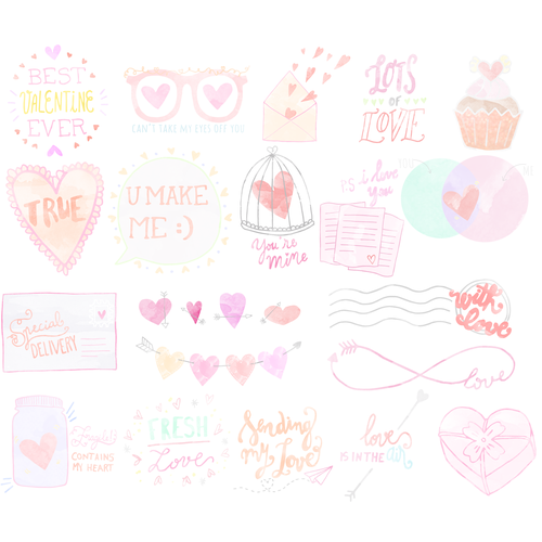 Pastel illustration with the title 'Valentine's day stickers'