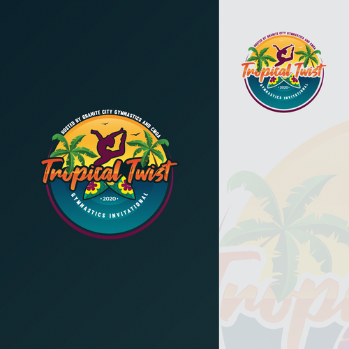 Gymnastics logo with the title 'Tropical Twist'