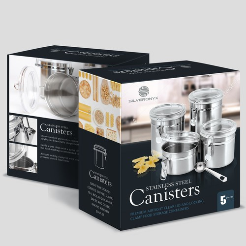 Kitchen packaging with the title 'Stainless Steel Canisters'