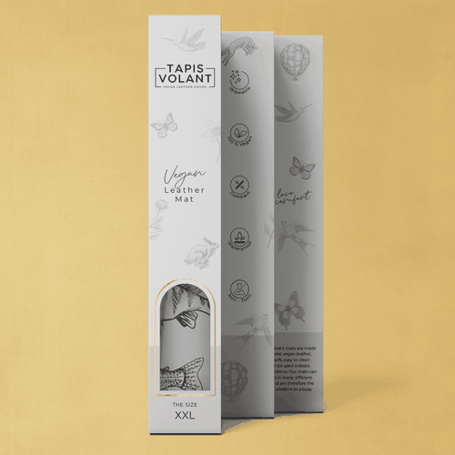 Window design with the title 'Minimalistic packaging design for high end vegan leather products'