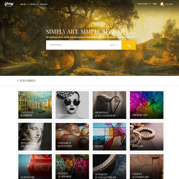 Gallery website with the title 'Online art gallery'