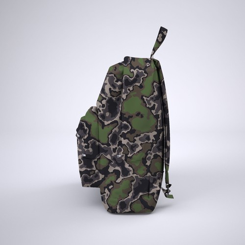 Green and black design with the title 'camouflage backpack'