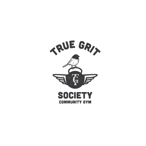 Yellow and red design with the title 'True Grit Society'