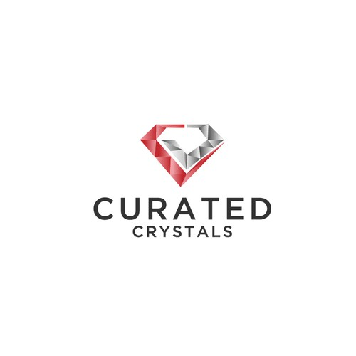 Pen tool logo with the title 'CURATED CRYSTALS'