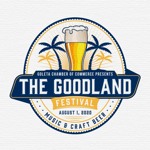 Festival logo with the title 'Goleta Chamber of Commerce presents The Goodland Fest'