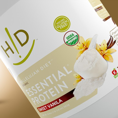 Vanilla design with the title 'Hallelujah Diet Vanilla Protein Label'