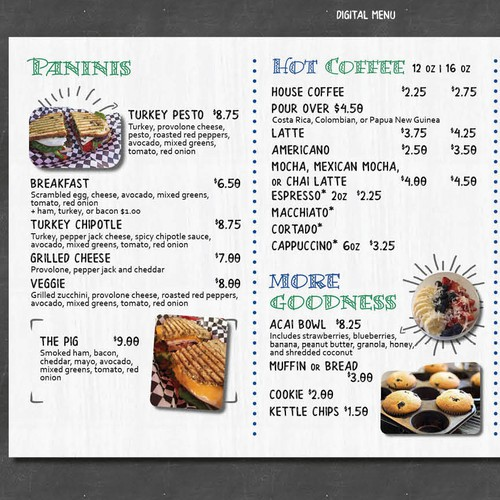 Quirky design with the title 'Quirky Menu for SoCal Cafe'