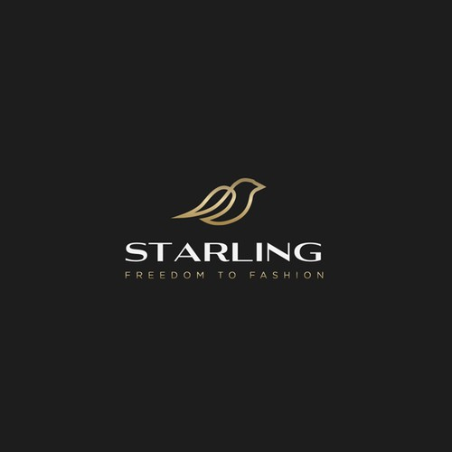Gold brand with the title 'Elegant logo concept for Starling, fashion company'
