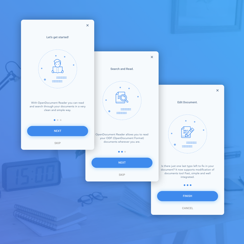 Login design with the title 'Simple On Boarding App'