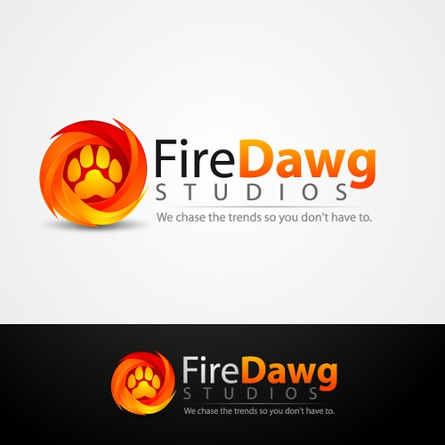 Bear print logo with the title 'FireDawg Studios'