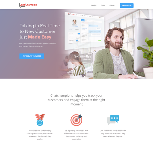 Customer design with the title 'a homepage for ChatChampions'