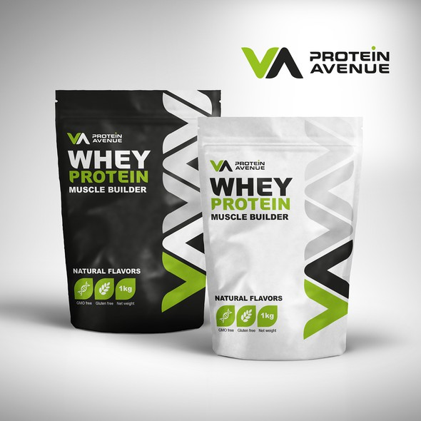 Body care packaging with the title 'Protein supplement product label design concept '